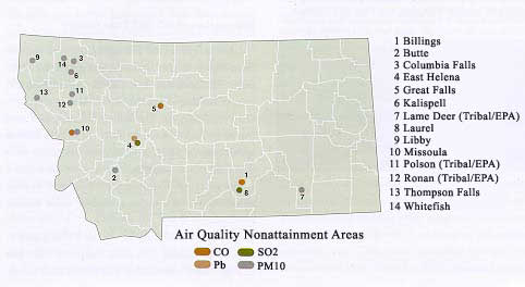 nonattainment areas in Montana