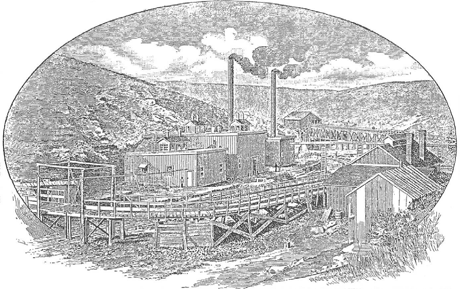 Engraving of Sand Coulee works, circa 1889, Great Falls Leader