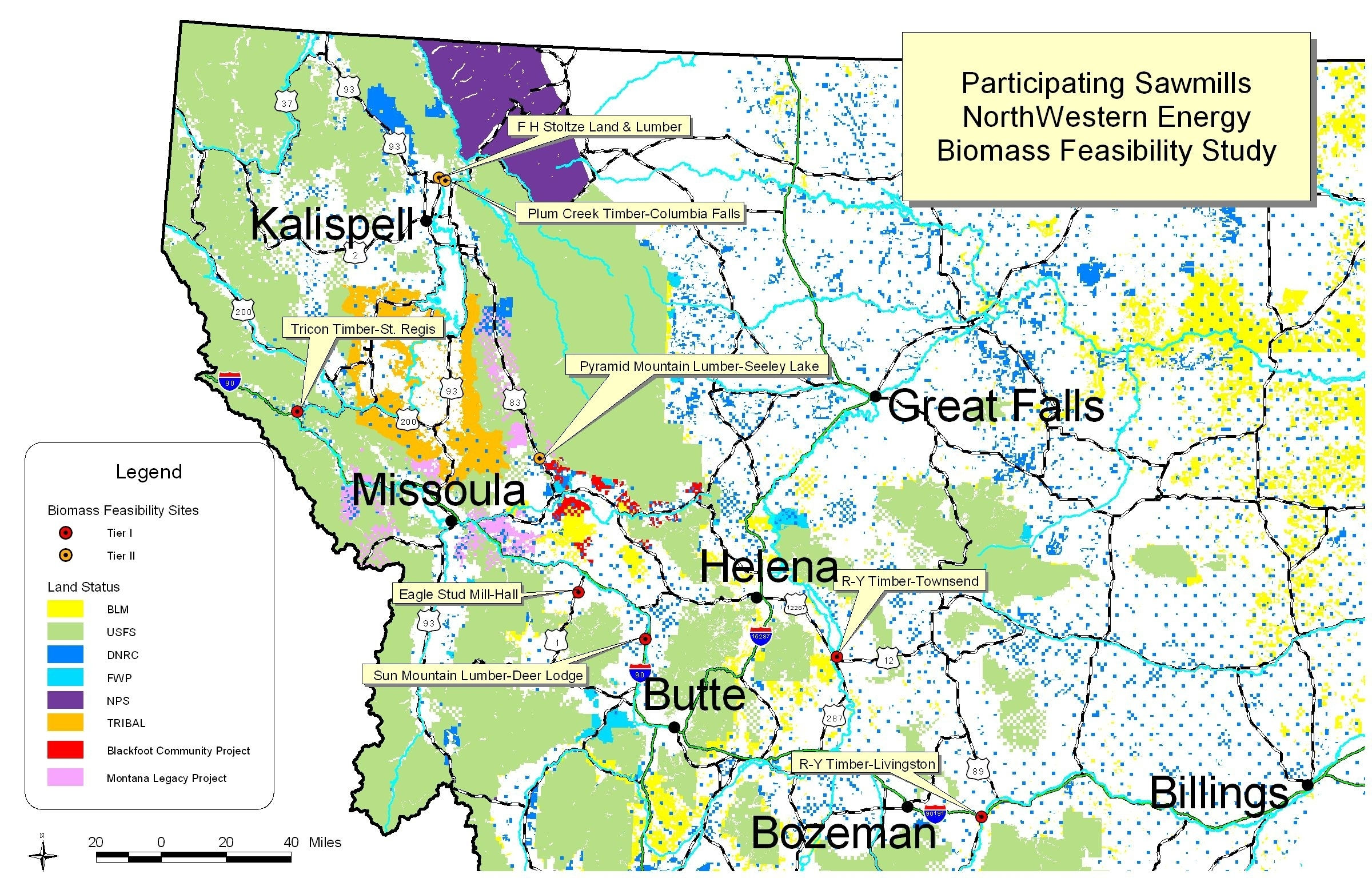 Map: Participating Sawmills in Biomass Energy Feasibility Study
