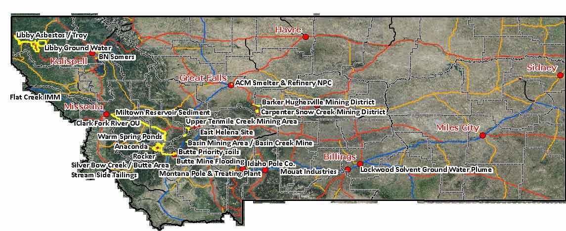 Montana DEQ Land Fedsuperfund - Us superfund site map