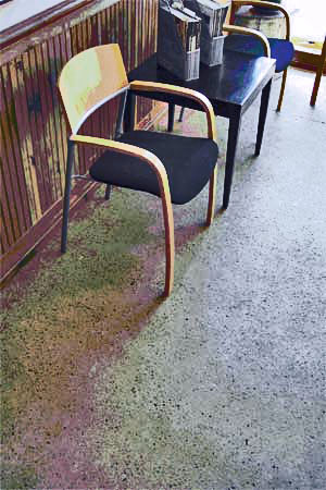 Glass and Fly Ash Concrete Floor